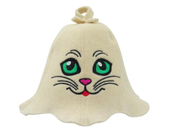 Sauna hat Kitty with green eyes beige 1182