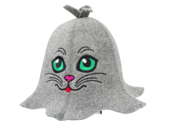 Sauna hat Cat with green eyes gray
