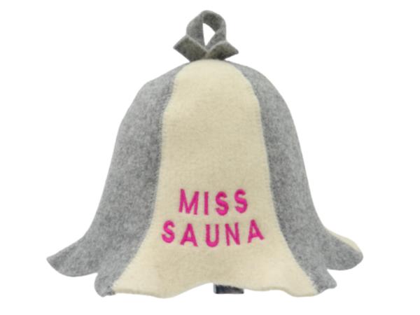 Sauna hat Miss Sauna gray/beige 1128