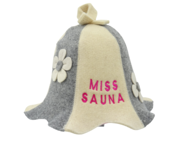 Sauna hat Miss with flowers 1028