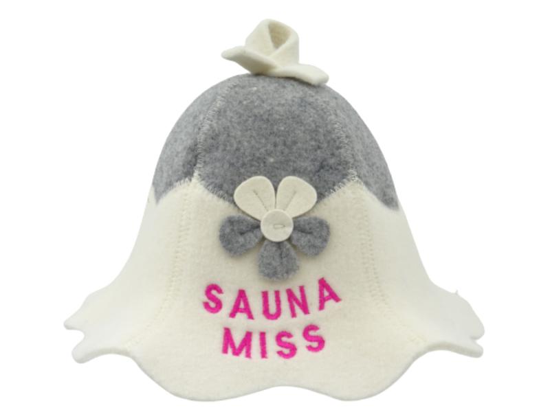 Saunamüts Sauna Miss lillega hall/valge 1025