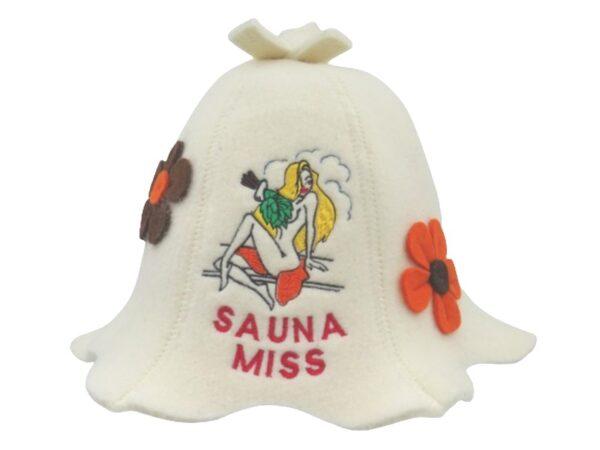 Sauna hat Sauna Miss with flowers white 1126