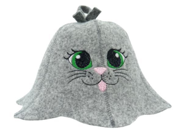 Children's sauna hat Cat green eye