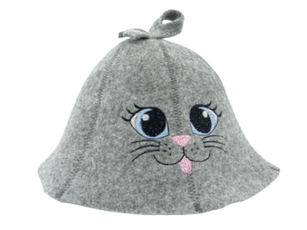 Children's sauna hat Cat blue eye gray