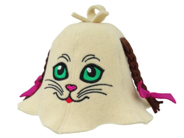 Sauna Hat Cat green eye with braids beige 1031