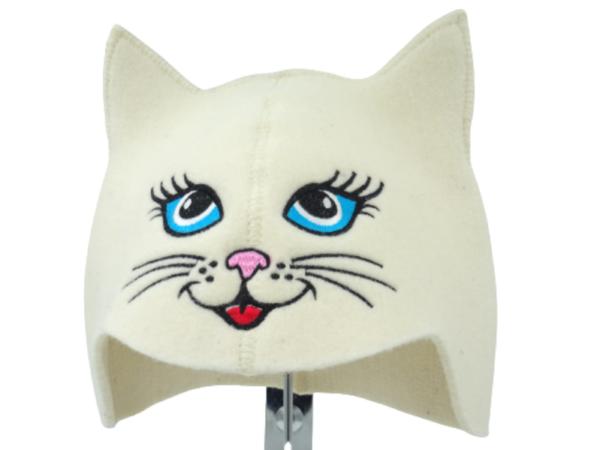 Sauna hat Cat blue eye white 1124