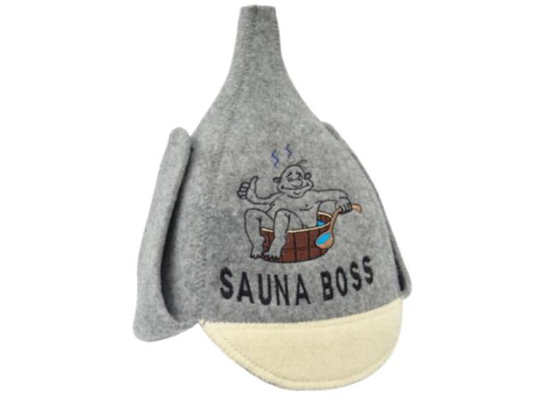 Men's sauna hat budenovka Sauna Boss gray 1097
