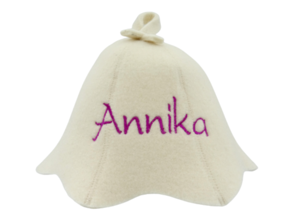 Sauna hat for a child with YOUR NAME white