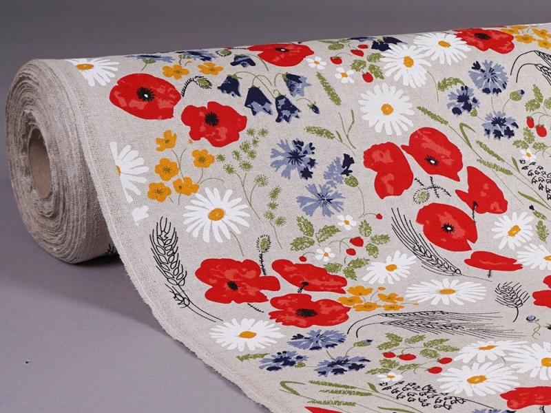Linen fabric Poppy and Daisy 2