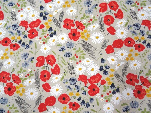 Linen fabric Poppy and Daisy