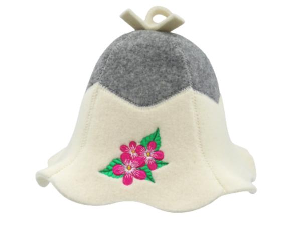 sauna hat with flowers
