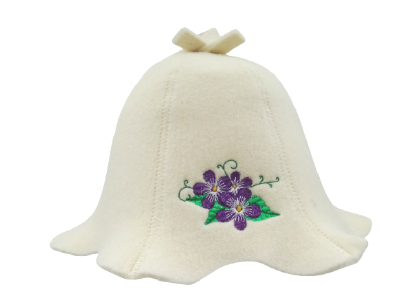 womens sauna hat with flowers