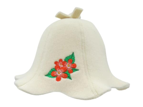 saunamüts naistele lilledega
