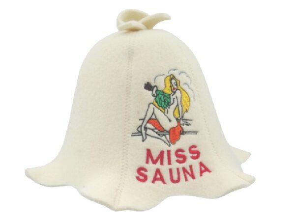 Шапка для сауны Miss Sauna белая A027