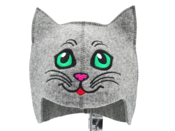 Children's sauna hat Kitty green eye gray 127H