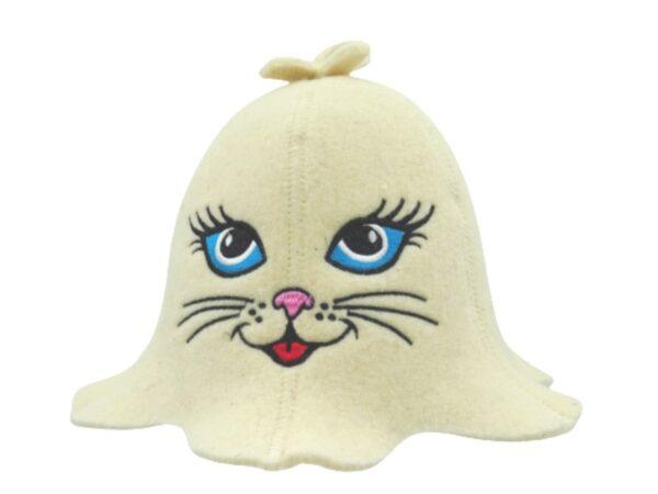 Sauna hat Kitty with blue eyes beige 1032