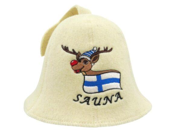 Sauna hat Finnish Elk beige F0015